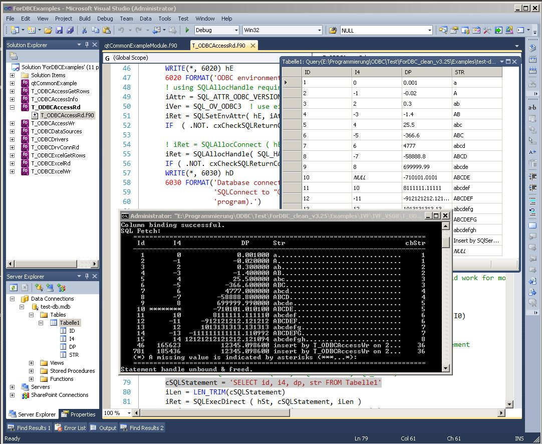 ForDBC - Access Databases and Spreadsheets in Fortran on a